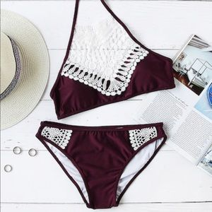 Swim - Burgundy lace halter top bikini set